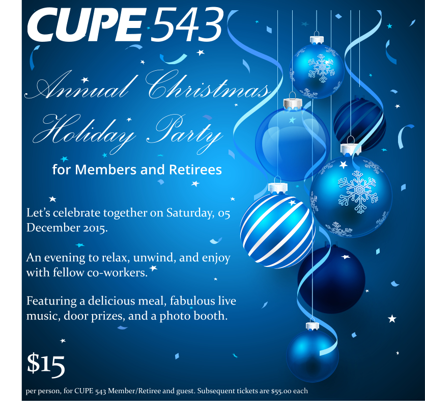 CUPE 543 Christmas Party Flyer Partial