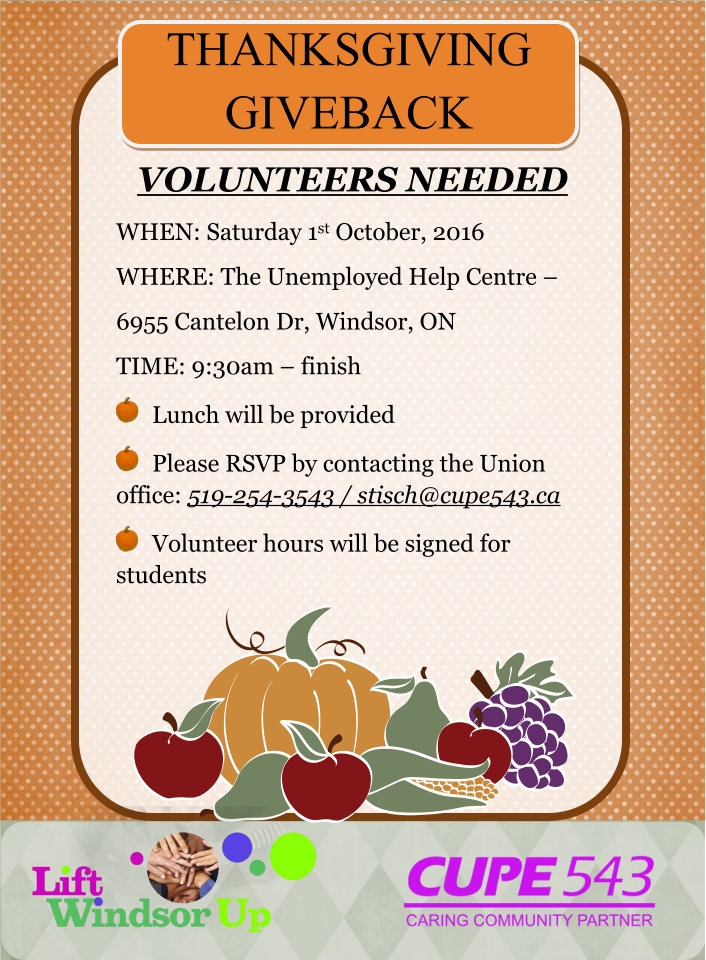 Thanksgiving Giveback Volunteers Needed for Prep-work @ Unemployed Help Centre | Windsor | Ontario | Canada