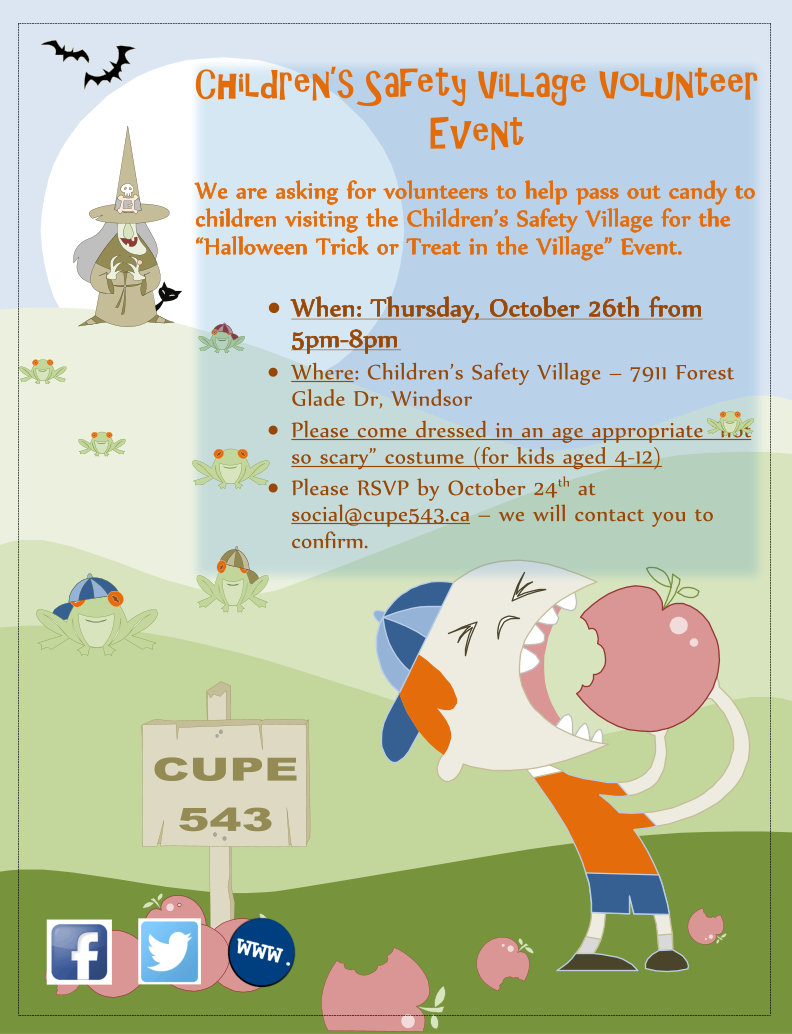 Children's Safety Village Hallowe'en Event - CUPE 543 Members/Retirees Volunteer Opportunity @ Children's Safety Village | Windsor | Ontario | Canada