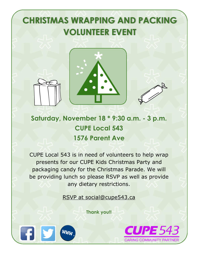 Christmas Parade Candy Packaging and Gift Wrapping Volunteers Needed @ CUPE 543 Union Hall | Windsor | Ontario | Canada