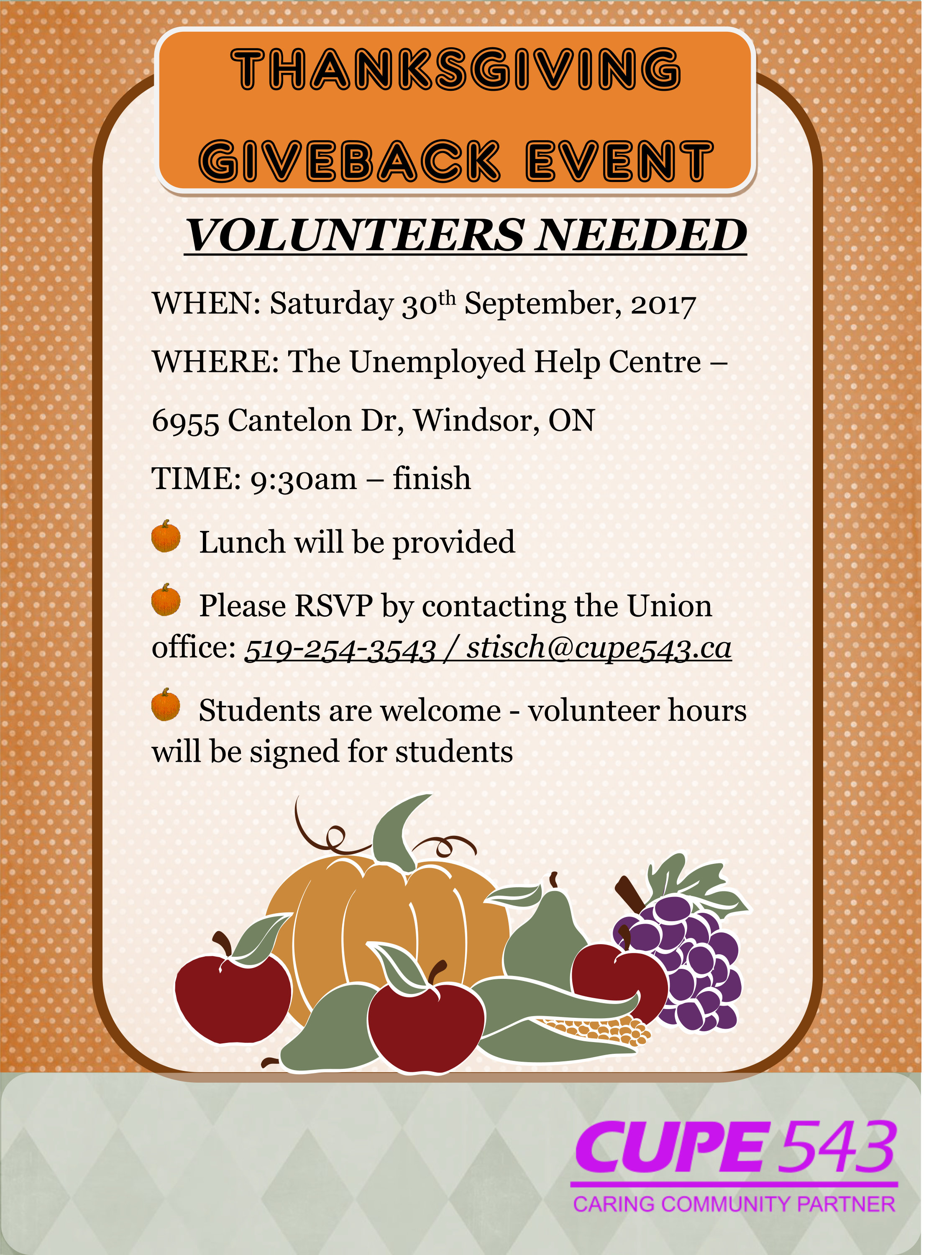 Thanksgiving Giveback - Volunteer Event @ Unemployed Help Centre | Windsor | Ontario | Canada