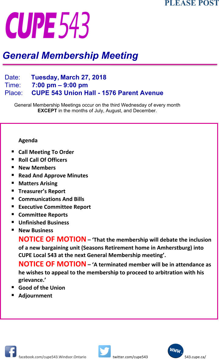 General Membership Meeting DATE CHANGE to Tuesday, 27 March, 2018 @ CUPE 543 | Windsor | Ontario | Canada