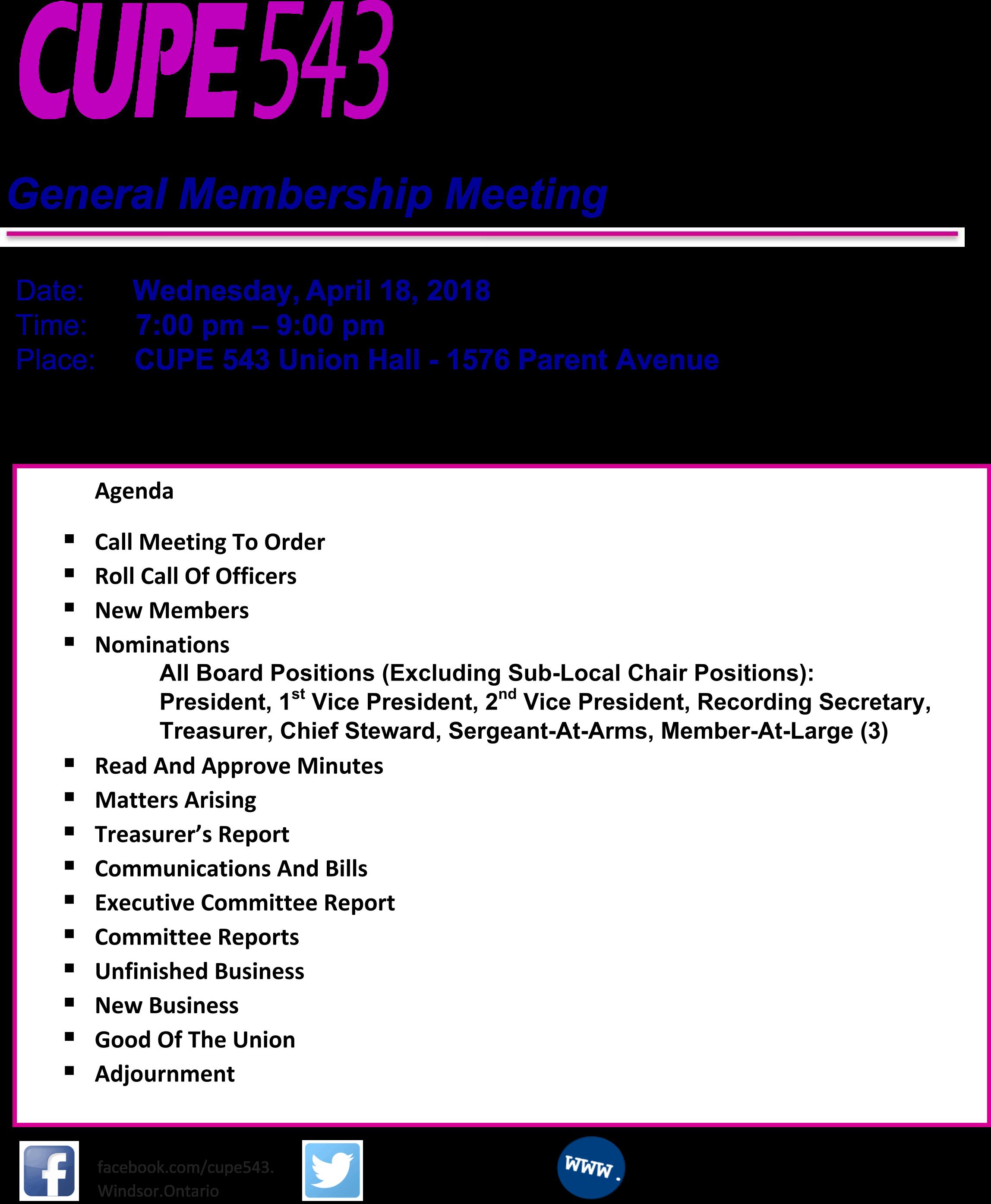 General Membership Meeting 18 April 2018 @ CUPE 543 | Windsor | Ontario | Canada