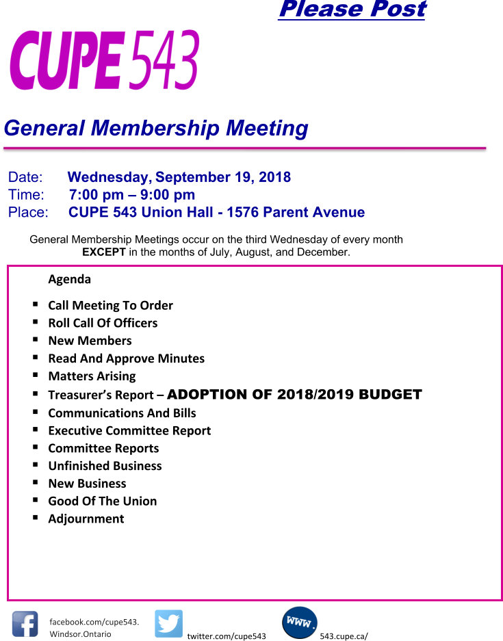 General Membership Meeting - Details to Follow! @ CUPE 543 | Windsor | Ontario | Canada