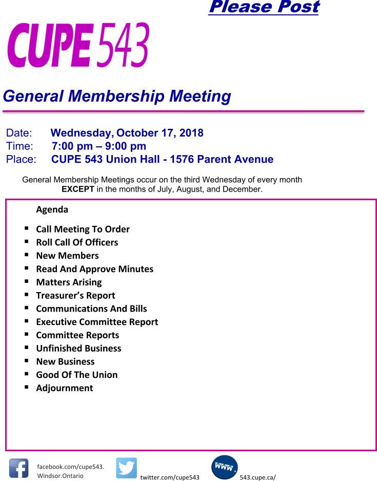 General Membership Meeting @ CUPE 543 | Windsor | Ontario | Canada