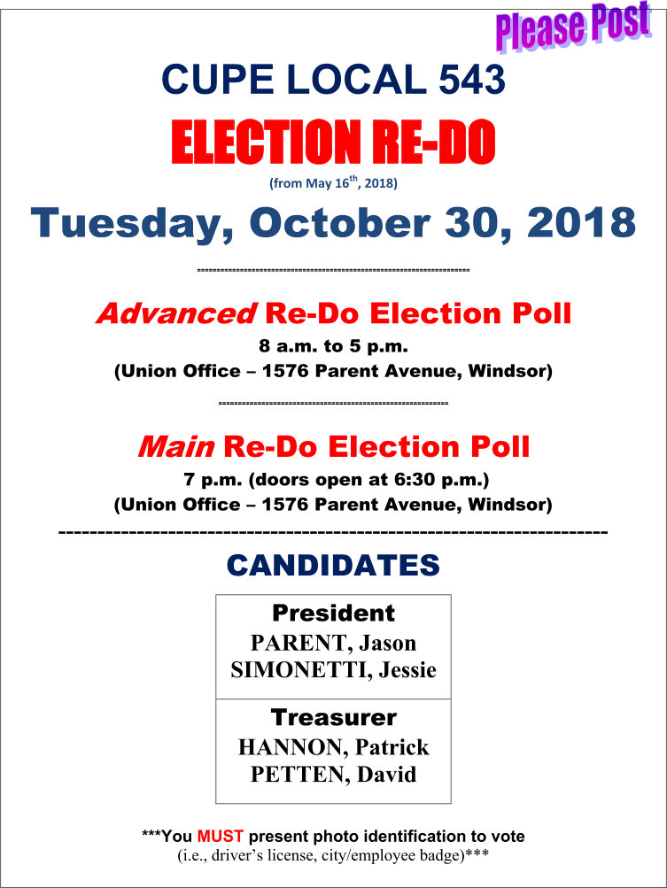 CUPE 543 Re-do Election for President and Treasurer @ CUPE 543 | Windsor | Ontario | Canada