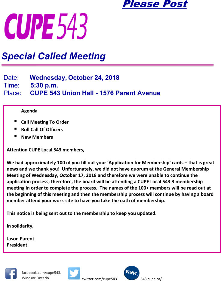 Special Meeting @ Union Hall | Windsor | Ontario | Canada