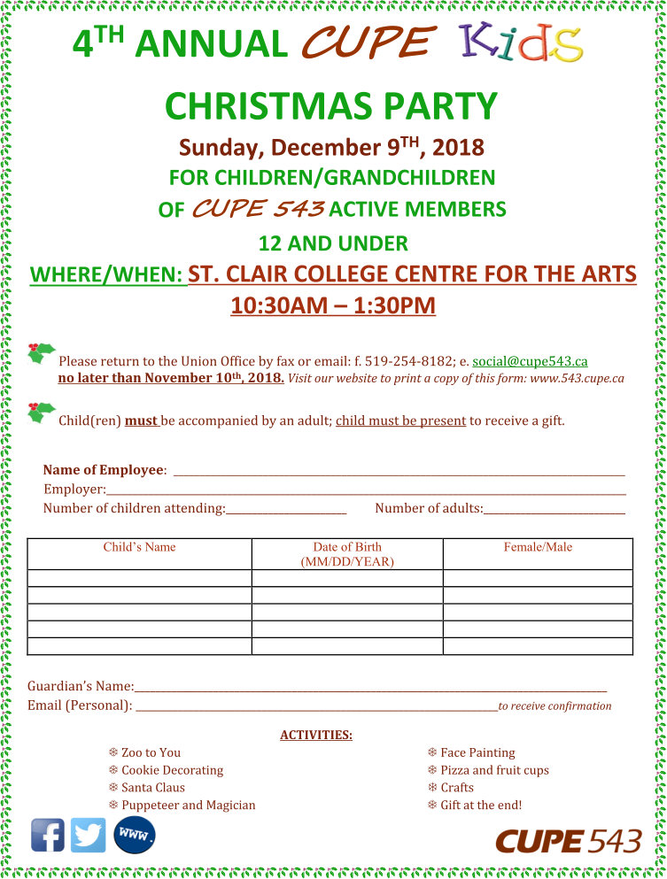 4th Annual CUPE Kids Christmas Party Reg. Deadline 10 Nov 2018 @ St. Clair College Centre for the Arts | Windsor | Ontario | Canada