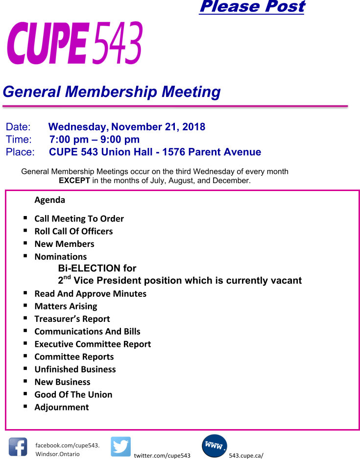 @nd Vice-President Election and General Membership Meeting @ CUPE 543 Union Hall | Windsor | Ontario | Canada