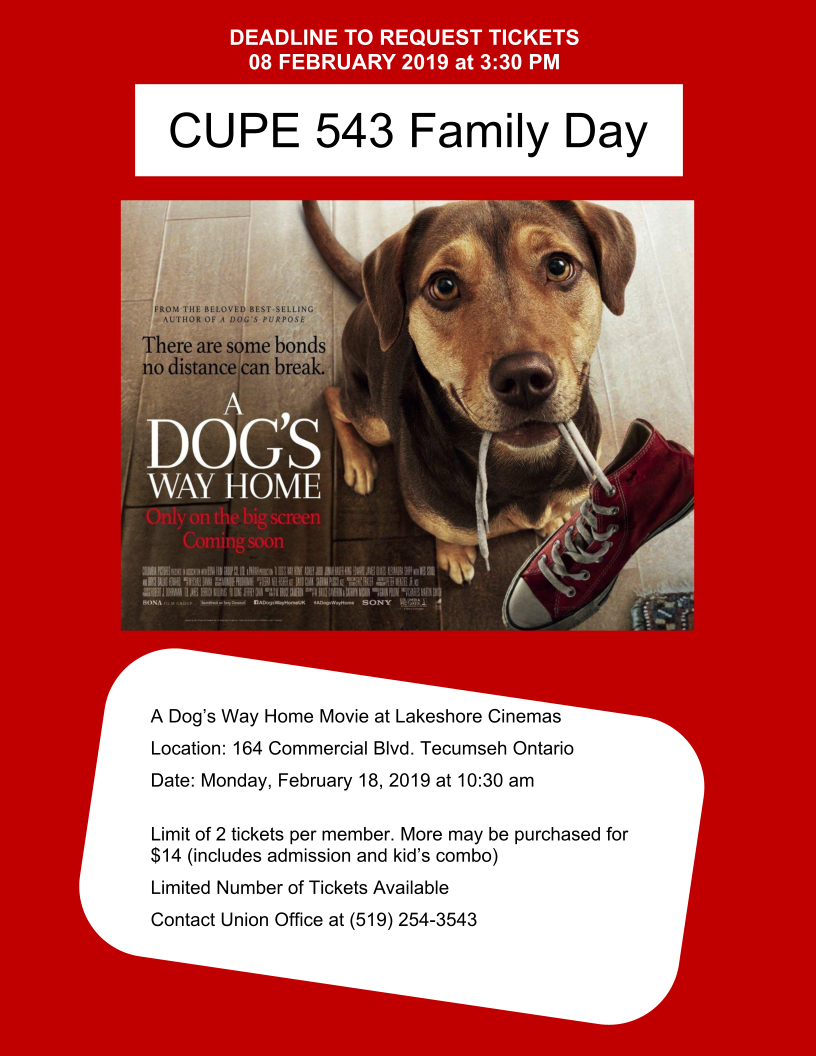 CUPE 543 Family Day Event - Ltd Tickets - Deadline: Friday, 08 Feb 2019 @ Lakeshore Cinemas