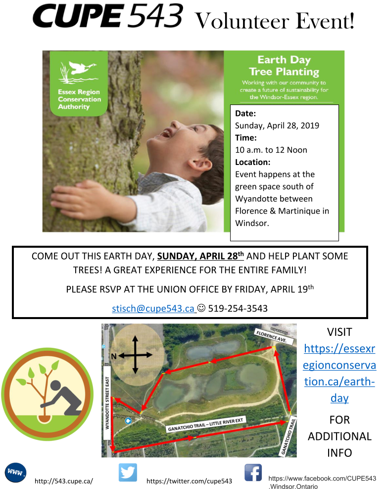 Earth Day Tree Planting - Please Join the CUPE 543 Team! @ Ganatchio Trail Green Space | Windsor | Ontario | Canada