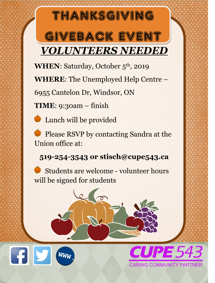 Volunteers Needed Annual Thanksgiving Produce Packaging @ Unemployed Help Centre | Windsor | Ontario | Canada
