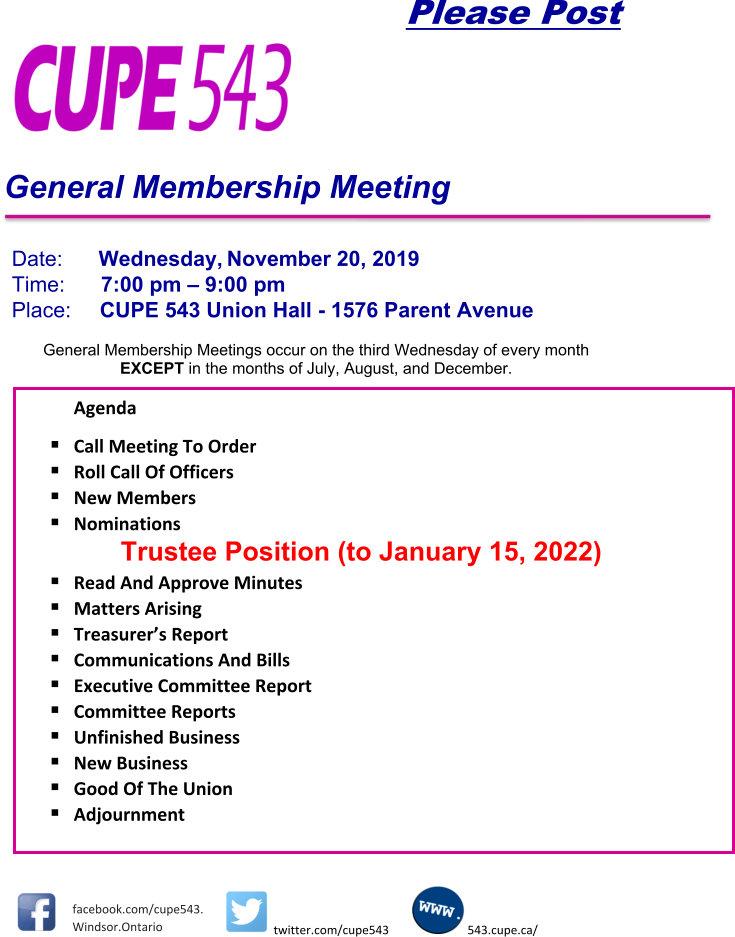 General Membership Meeting @ CUPE 543