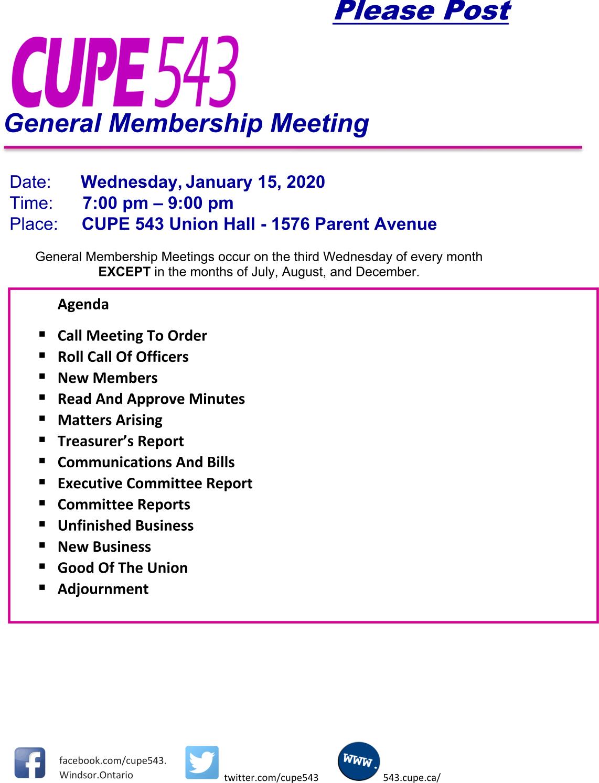 General Membership Meeting 15 Jan 2020 @ CUPE 543