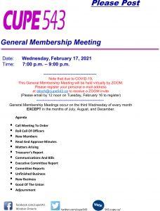 General Membership Meeting on Zoom @ Zoom