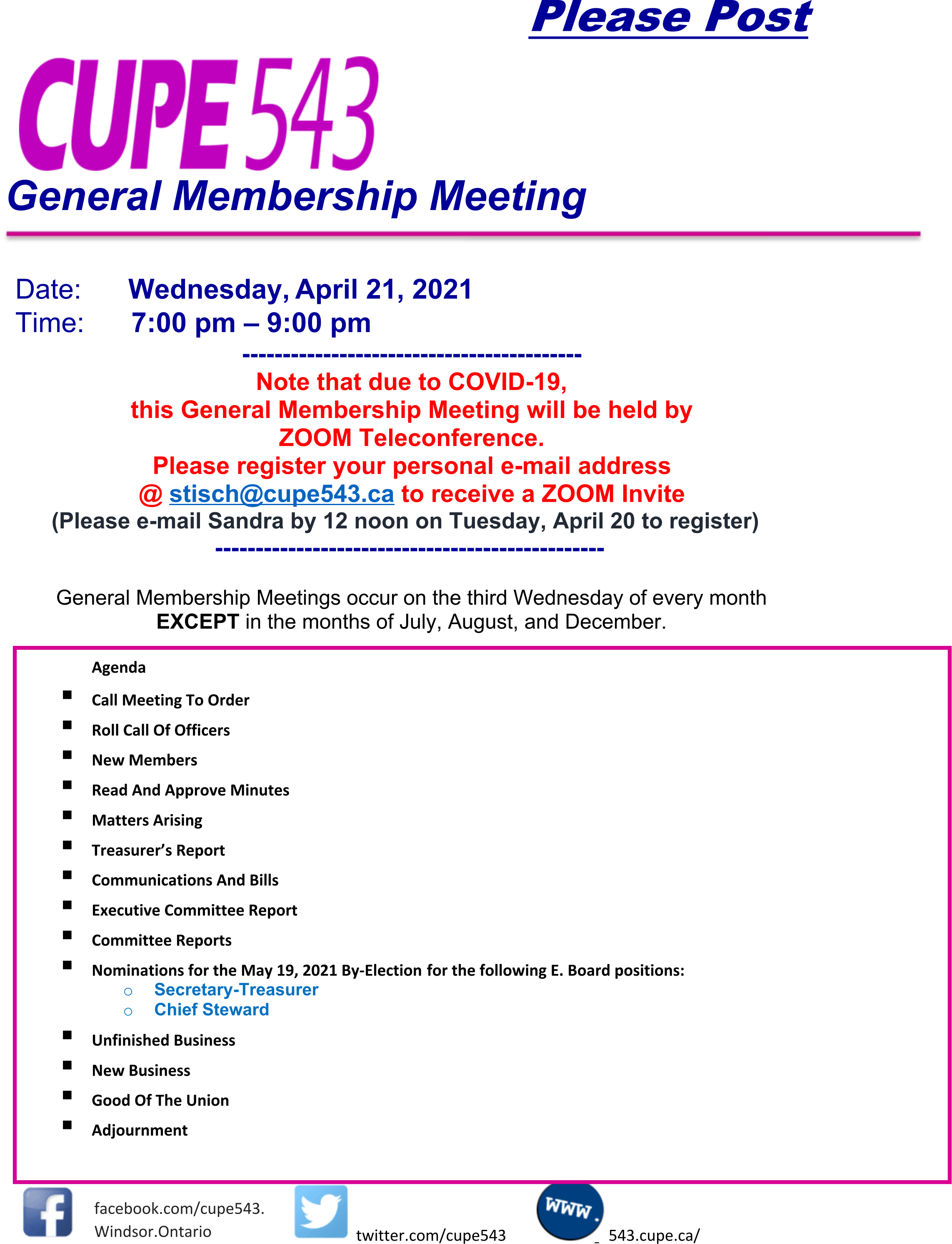 GMM and Nomination Meeting for Treasurer and Chief Steward @ Virtual Meeting on Zoom