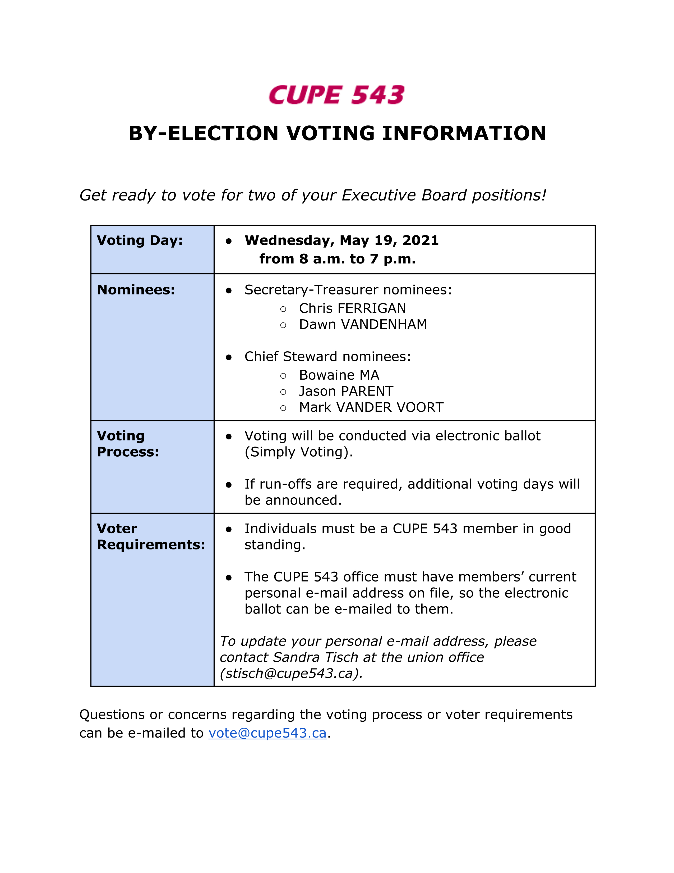 CUPE 543 By-Election - Electronic Voting @ Simply Voting