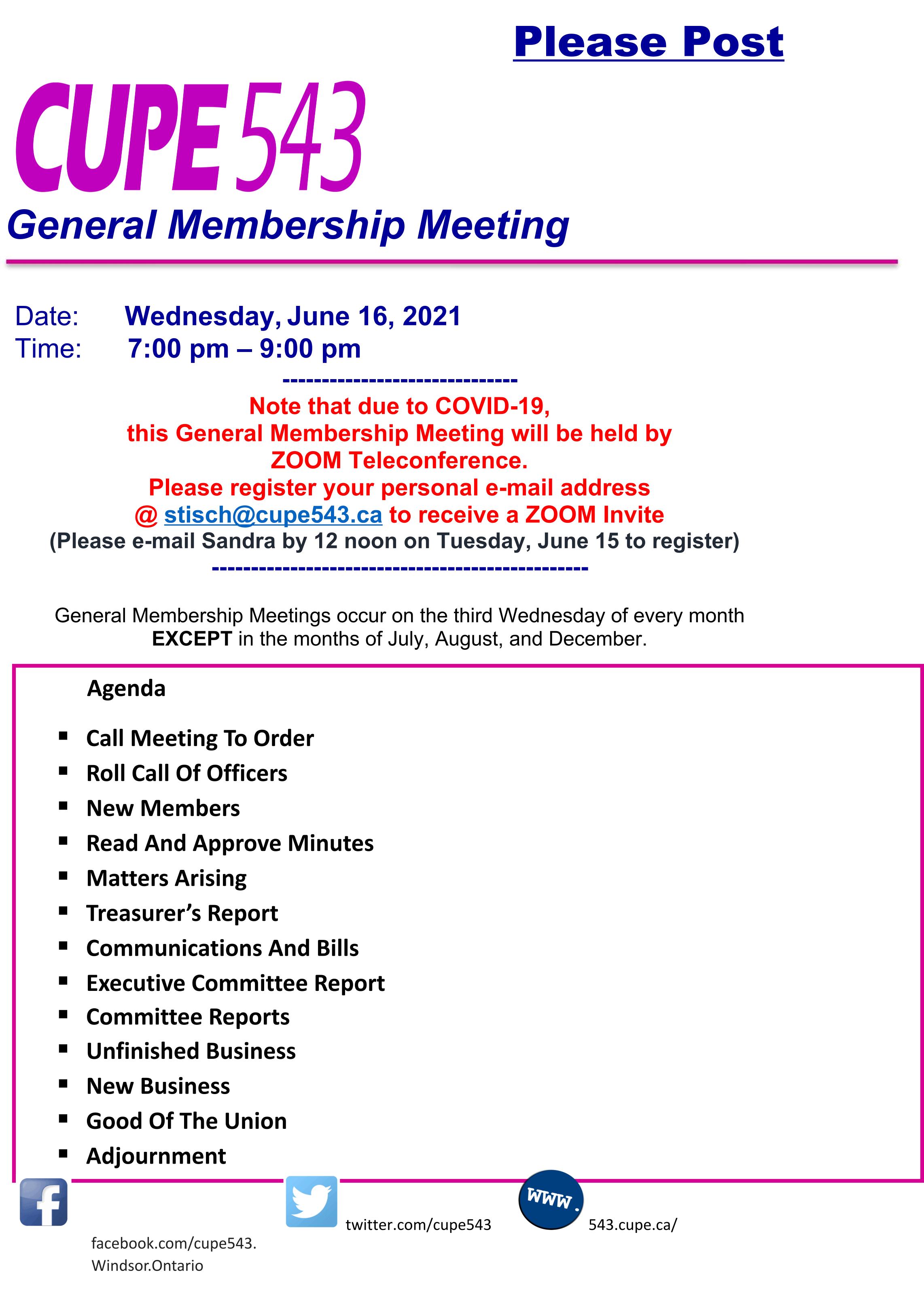 CUPE 543 General Membership Meeting @ Zoom