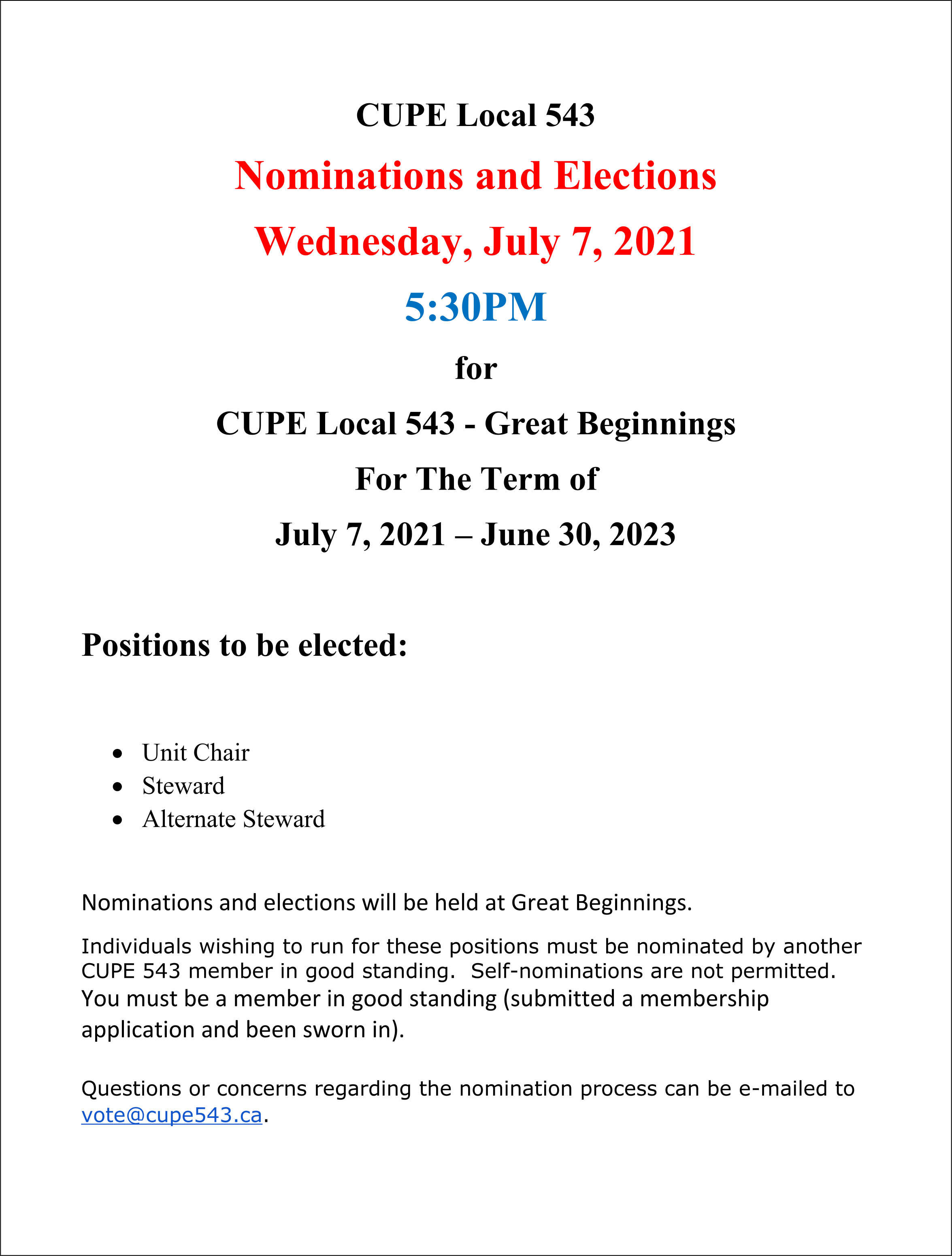 Great Beginnings Members:  Nominations and Elections @ Great Beginnings