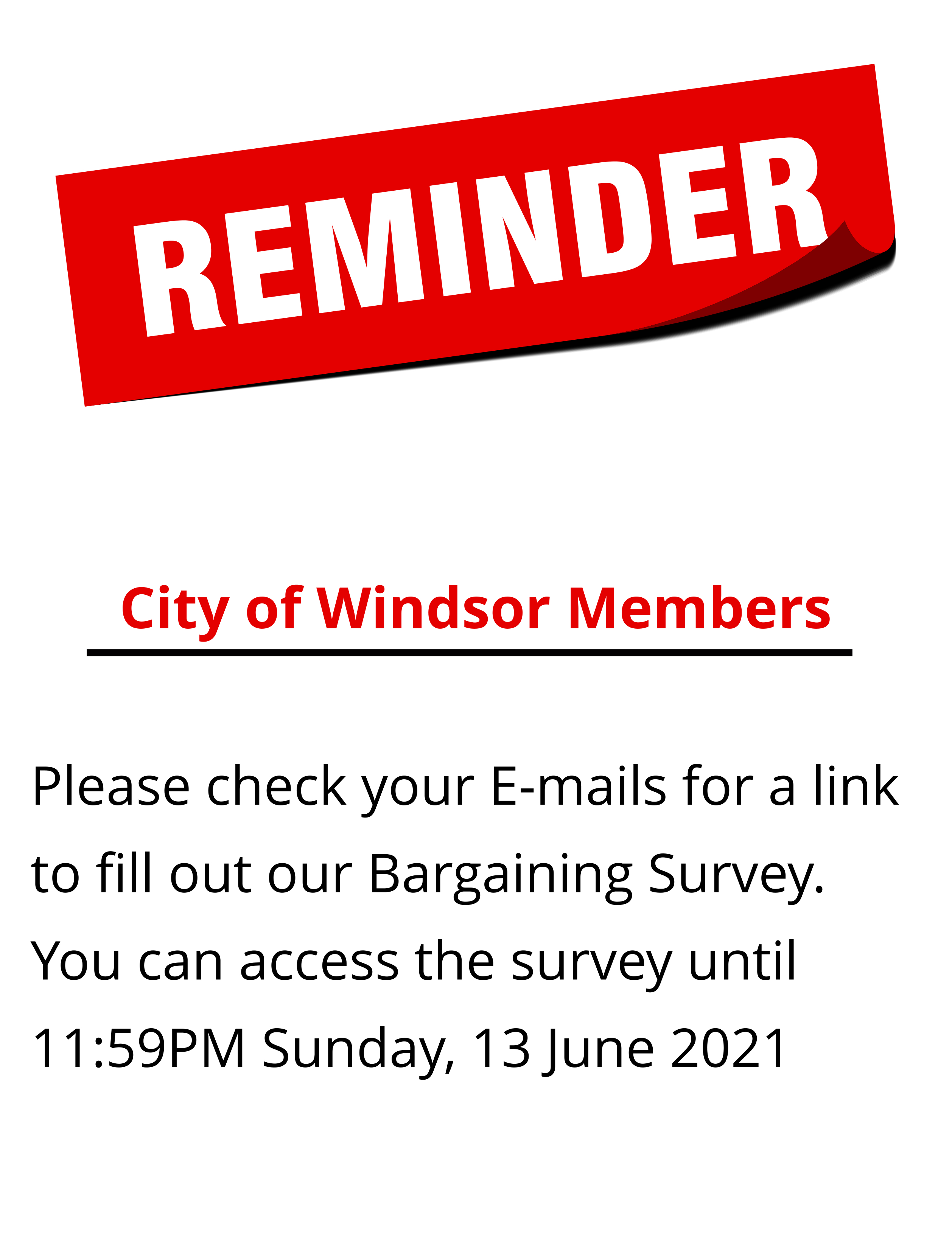 CUPE 543 Bargaining Survey: City of Windsor Members