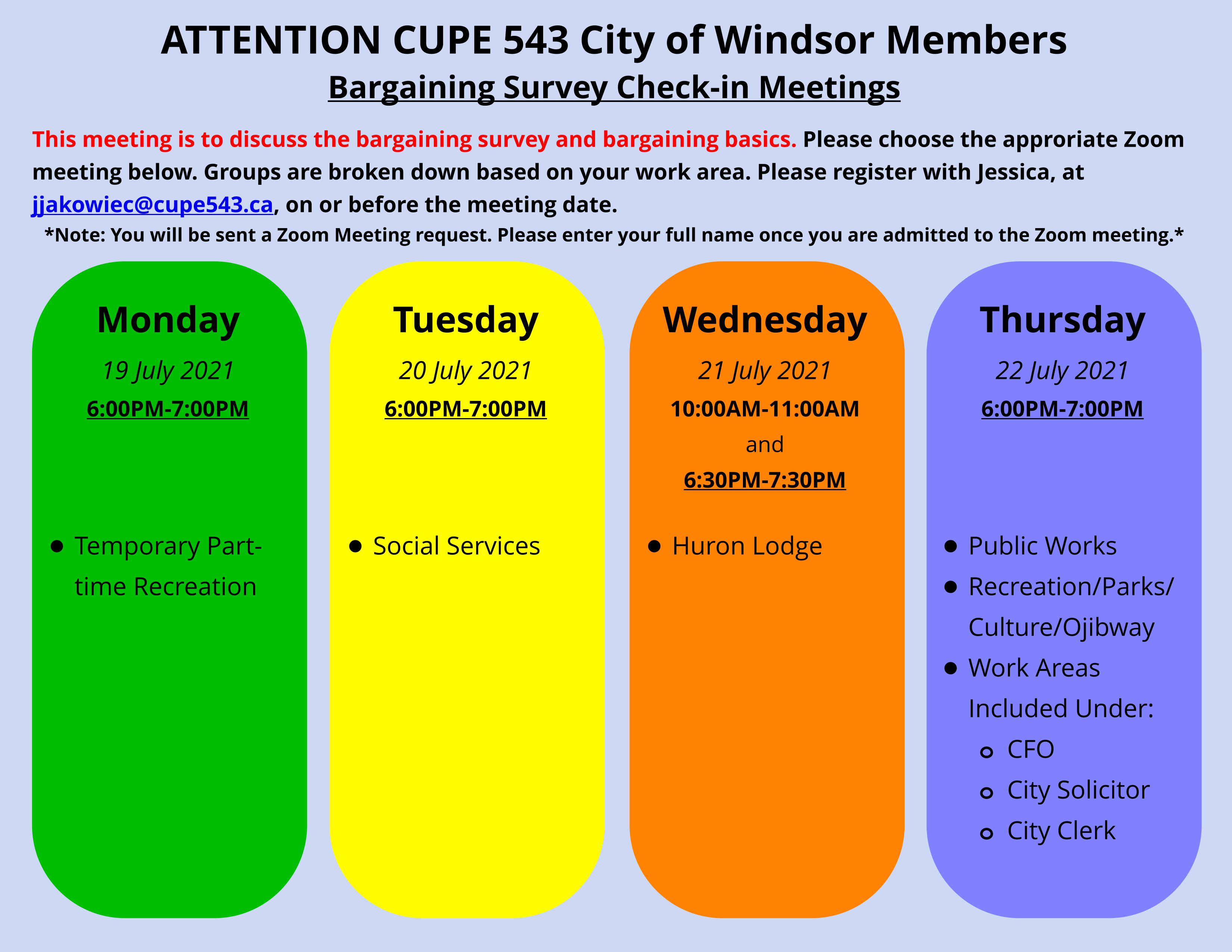 Bargaining Survey Check-in Meetings. Please Register to Attend by your Work Area @ Zoom