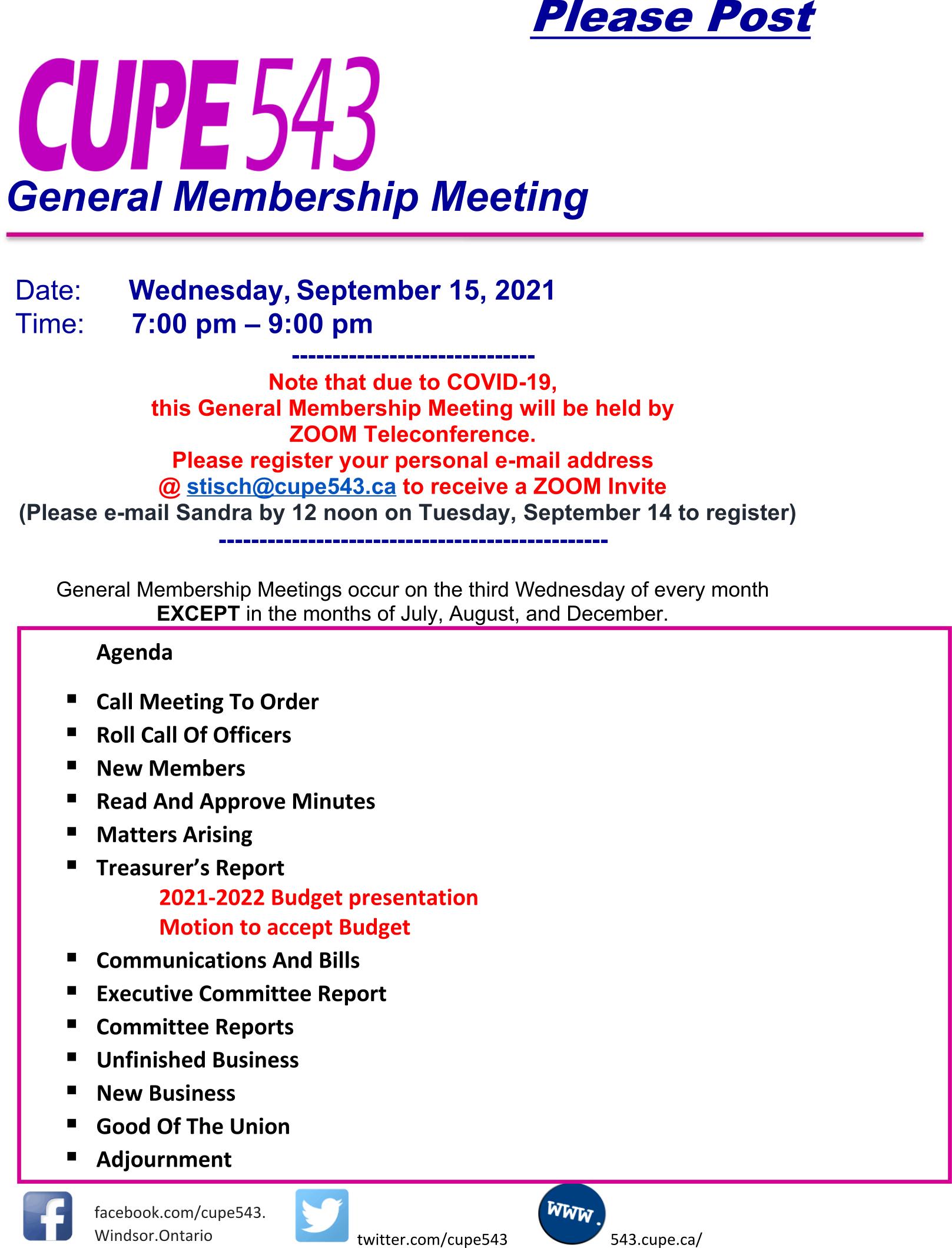 General Membership Meeting @ Zoom