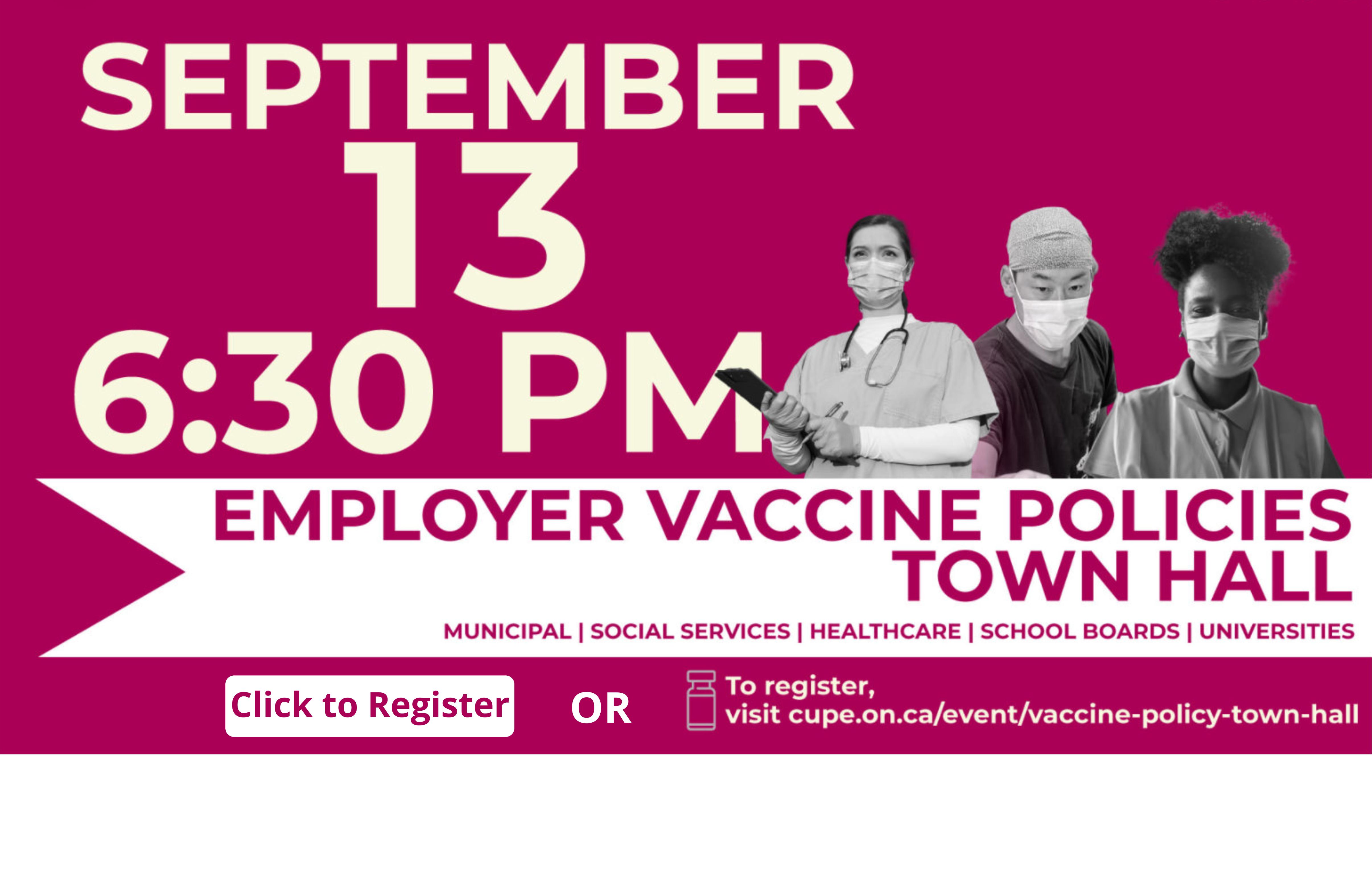 CUPE Ontario Vaccination Policy Webinar @ Zoom